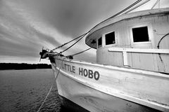 Bow of Hobo. Bow of Little Hobo fishing boat in black and white Stock Photo