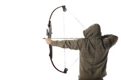 Bow hunter. Hoodlum aims a compound bow and arrow Stock Images