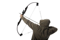 Bow hunter. Hoodlum aims a compound bow and arrow Royalty Free Stock Images