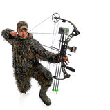 Bow hunter in action Stock Photography