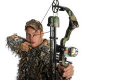 Bow hunter in action Royalty Free Stock Photography