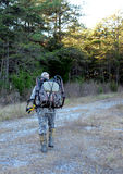 Bow hunter entering woods royalty free stock image