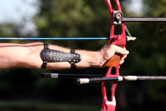 Bow hunter hands holding compound bow Royalty Free Stock Photography