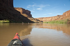 Bow of a kayak in a desert river Stock Images