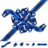 Bow Knot Ribbon Solemnity Blue Set Stock Photography