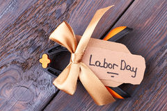 Bow on Labor Day card. Royalty Free Stock Photo