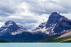 Bow Lake With Crowfoot Glacier and Bow Peak. Bow Lake in Banff National Park, with Crowfoot Glacier and Bow Peak in the background. Located at the base of Bow royalty free stock photo