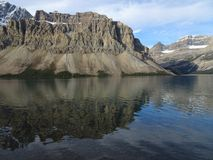 Bow Lake in the Canadian Rocky Mountains, Alberta. Bow Lake in the Canadian Rocky Mountains in beautiful Alberta royalty free stock photo