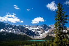 Bow Lake and the Crowfoot Clacier in Banff National Park, Alberta. Canada stock images