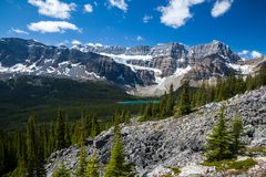 Bow Lake and the Crowfoot Clacier in Banff National Park, Alberta. Canada royalty free stock photography
