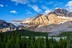 Bow Lake and the Crowfoot Clacier in Banff National Park, Alberta. Canada royalty free stock images