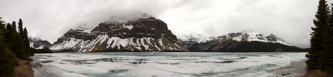 Bow Lake frozen in Alberta, Canada Royalty Free Stock Image