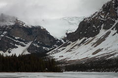 Bow Lake frozen, Alberta, Canada Royalty Free Stock Photo