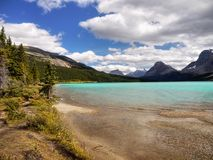 Bow Lake, Mountains Icefields Parkway, Canadian Rockies Royalty Free Stock Images