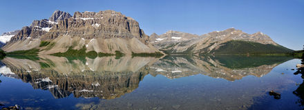 Bow Lake - Mountains reflected on the surface. Panorama Stock Image