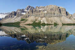 Bow Lake - Mountains reflected on the surface Royalty Free Stock Image