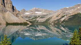 Bow Lake - Mountains reflected on the surface Stock Photo