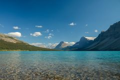 Bow lake in Rocky Mountains. Canada stock image