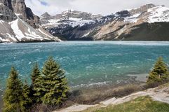 Bow Lake, Rocky Mountains (Canada). Bow Lake in Spring, Rocky Mountains (Canada royalty free stock photography