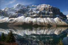 Bow Lake and striated mountain Royalty Free Stock Image