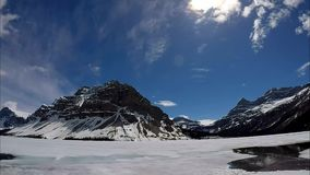Bow Lake TIme Lapse Video with Clouds and Water stock footage