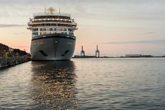 Prow of cruise ship moored in Copenhagen harbour Royalty Free Stock Photo