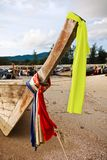 Bow of longtail boat on beach in Thailand Royalty Free Stock Photos