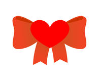 Bow love. Red Ribbon with knot of love. Symbol of heart and Red Royalty Free Stock Images