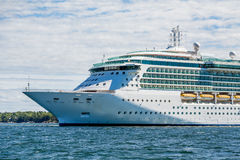 Bow of Luxury Cruise Ship on Blue Water. Cruise Ship Anchored off the coast of Bar Harbor, Maine Royalty Free Stock Image