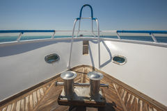 Bow of a luxury motor yacht Stock Photo