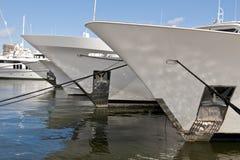 Bow of luxury yachts Stock Image