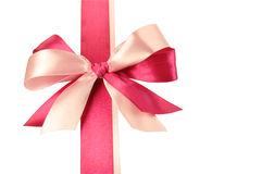 Bow made of Pink Ribbons. Isolated on white Stock Photo