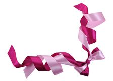 Bow made of Pink Ribbons. Frame made of Pink Ribbons Isolated on White Stock Photo