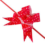 Bow made from red ribbon isolated Stock Photography