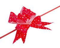 Bow made from red ribbon isolated Stock Image