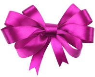 Bow, made of red silk ribbon Stock Images