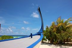 Bow of a maldivian boat on the beach Stock Images
