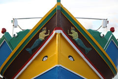 Bow of Maltese Luzzu boat. Bow of a Maltese Luzzu boat with a pair of eyes believed to protect the fishermen from any harm when they�re at sea Royalty Free Stock Images