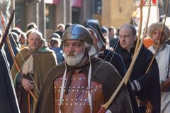 Bow men in medieval costume at traditional parade of Epiphany Befana medieval festival in Florence, Tuscany, Italy. Royalty Free Stock Photography