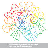Bow mishmash colorful set in vector. Stock Image