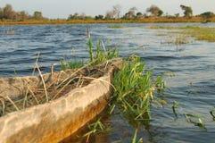 Bow of mokoro canoe. Bow of canoe on a lake Royalty Free Stock Image