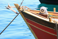 Bow of a moored boat Royalty Free Stock Photo