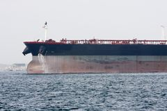 Bow of oil supertanker under power Royalty Free Stock Photos