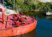 Bow of Old Red Tanker Stock Photography