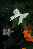 Bow Origami decoration in Christmas Tree Royalty Free Stock Photography