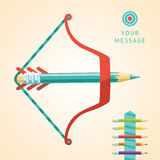 Bow and pencil concept. A bow with pencils without arrow. Flat style design elements for business and communication info graphics. The metaphor of a startup Stock Image