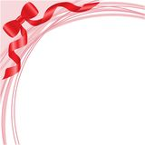 Bow on a pink. Red bow on white background with pink arcs Royalty Free Stock Photo
