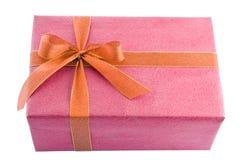 bow prezent złota pudełkowata czerwony Obrazy Royalty Free