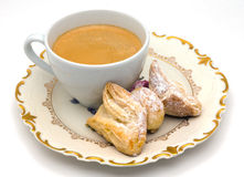 Bow puff pastry with coffee Stock Photos