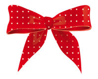Bow of red ribbon. With white spots Stock Images